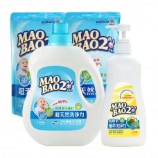 【毛寶兔】超天然小蘇打植物2倍濃縮洗衣精 1000g x1+ 800g-補充包 x2 +奶瓶蔬果洗滌液350g x1