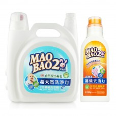 【毛寶兔】超天然小蘇打植物2倍濃縮洗衣精 5020g x1 + 超複合酵素衣物去漬凝膠 250g x1