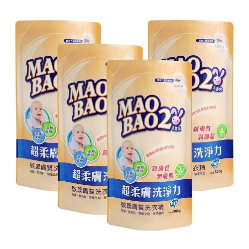 【毛寶兔】超柔膚敏感膚質洗衣精800g補充包 x4-效期到2021/1