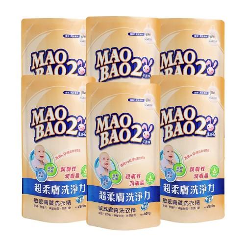 【毛寶兔】超柔膚敏感膚質洗衣精800g補充包 x6-效期到2021/1