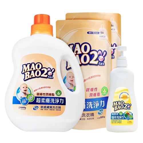 【毛寶兔】超柔膚敏感膚質洗衣精1000g x1 + 800g補充包 x2 + 【毛寶兔】超酵素植物性奶瓶蔬果洗滌液350g x1