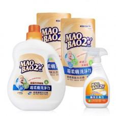 【毛寶兔】超柔膚敏感膚質洗衣精1000g x1 + 800g補充包 x2 +  【毛寶兔】超酵素衣物去漬劑500g-噴槍瓶 x1