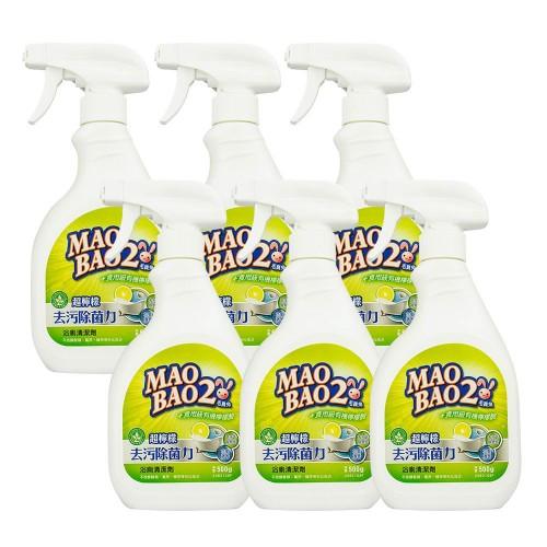 【毛寶兔】超檸檬浴廁去污除菌清潔劑500g-噴槍瓶 x6