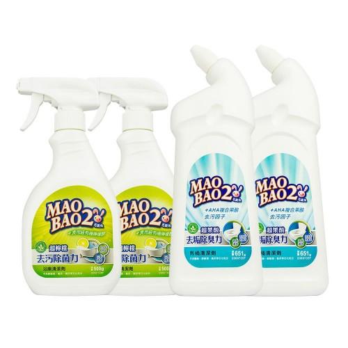【毛寶兔】超檸檬浴廁去污除菌清潔劑500g-噴槍瓶 x2 +  【毛寶兔】超果酸馬桶去垢除臭清潔劑651g x2