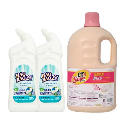【毛寶兔】超果酸馬桶去垢除臭清潔劑651g x2 +  【毛寶S】增豔無氯漂白水3.6kg(清新百花香) x1