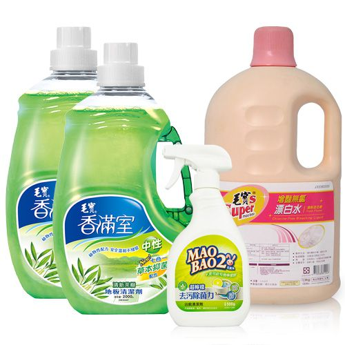【香滿室】中性地板清潔劑(清新茶樹)x2、【毛寶兔】超檸檬浴廁去污除菌清潔劑500g x1、【毛寶S】增豔無氯漂白水3.6kg(清新百花香)x1