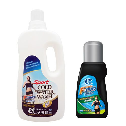【毛寶】FEVO運動衣物冷洗精1000g x1 + FEVO織物機能添加劑450g (吸濕排汗)x1