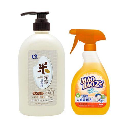 【毛寶】米精萃洗碗精780g x1 +【毛寶兔】超泡沫廚房去油除垢清潔劑500g (噴槍瓶) x1
