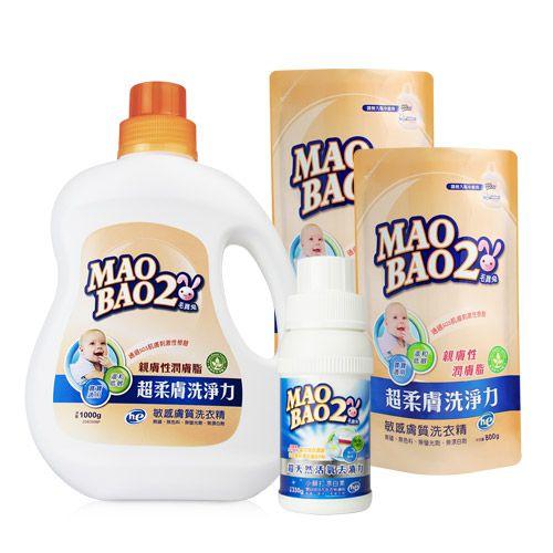 【毛寶兔】超柔膚敏感膚質洗衣精1000g x1 +800g補充包x2 +超天然小蘇打活氧殺菌漂白素330g x1