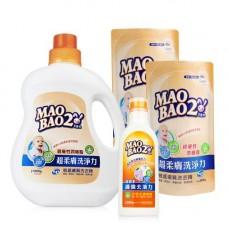 【毛寶兔】超柔膚敏感膚質洗衣精1000g x1 +800g補充包x2 +超複合酵素衣物去漬凝膠250g x1