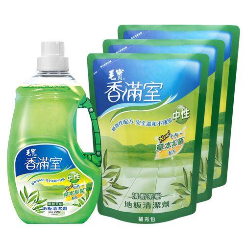 【香滿室】中性地板清潔劑(清新茶樹)2000g x1+ 1800g補充包 x3