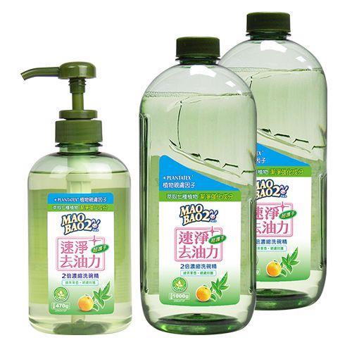【毛寶兔】毛寶兔超護手2倍濃縮洗碗精470g(綠茶果露) x1 + 1000g補充瓶 x2
