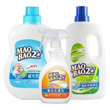 【毛寶兔】超天然小蘇打植物2倍濃縮洗衣精 1000g x1+ 超酵素制臭抗菌防霉洗衣精1000g x1 + 超酵素衣物去漬劑500g x1