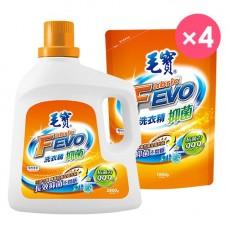 【毛寶】FEVO抑菌洗衣精2800g x1 + 1800g補充包 x4-效期到2020/01