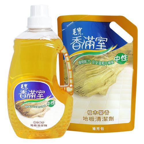 【香滿室】中性地板清潔劑(檀木馨香)2000g x1+ 1800g補充包 x1