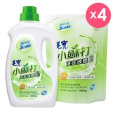 【毛寶】小蘇打液體皂2000g x1 + 1800g-補充包 x4