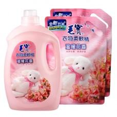 【毛寶】衣物柔軟精(溫暖花香)3200g x1 + 1900g-補充包 x2