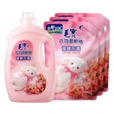 【毛寶】衣物柔軟精(溫暖花香)3200g x1 + 1900g-補充包 x3