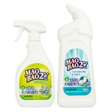 【毛寶兔】超檸檬浴廁去污除菌清潔劑500g-噴槍瓶 x1 +  【毛寶兔】超果酸馬桶去垢除臭清潔劑651g x1-效期到2022/10