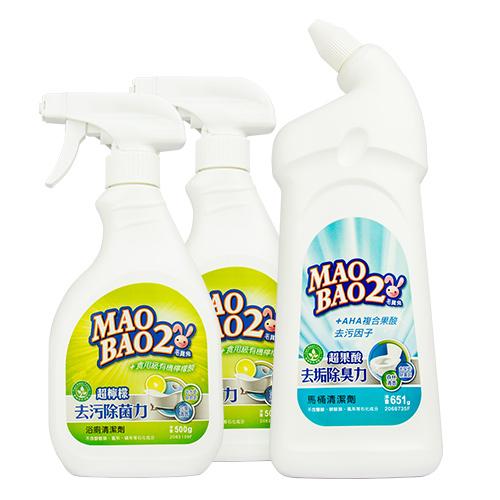 【毛寶兔】超檸檬浴廁去污除菌清潔劑500g-噴槍瓶 x2 +  【毛寶兔】超果酸馬桶去垢除臭清潔劑651g x1