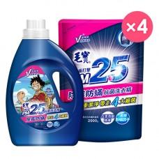 【毛寶】PM2.5除霉防蟎抗菌洗衣精2200g_航海王 x1 + 2000g-補充包 x4