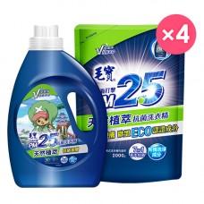 【毛寶】PM2.5抗菌洗衣精-天然植萃2200g_航海王 x1 + 2000g-補充包 x4